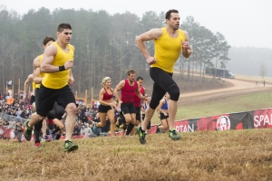 "SPARTAN: ULTIMATE TEAM CHALLENGE -- Episode 101 -- Pictured: (l-r) Ben Greenfield, Matt Anderson of ""Wedding Ringers""; Stephanie Keenan, Adam Von Ins, Stephen Siraco of ""Charleston Warriors""; Jonathan Burns of ""Wedding Ringers"" head up the hill in heat one -- (Photo by: Mark Hill/NBC)"