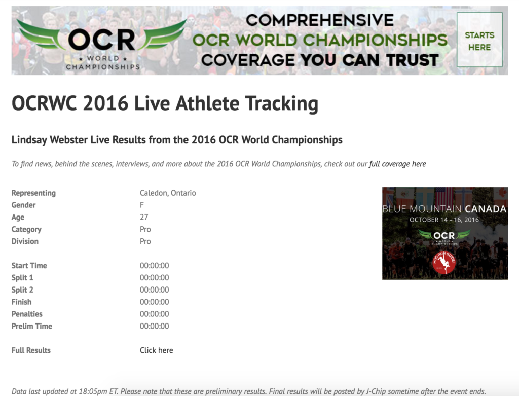 Live Athlete Tracking OCRWC